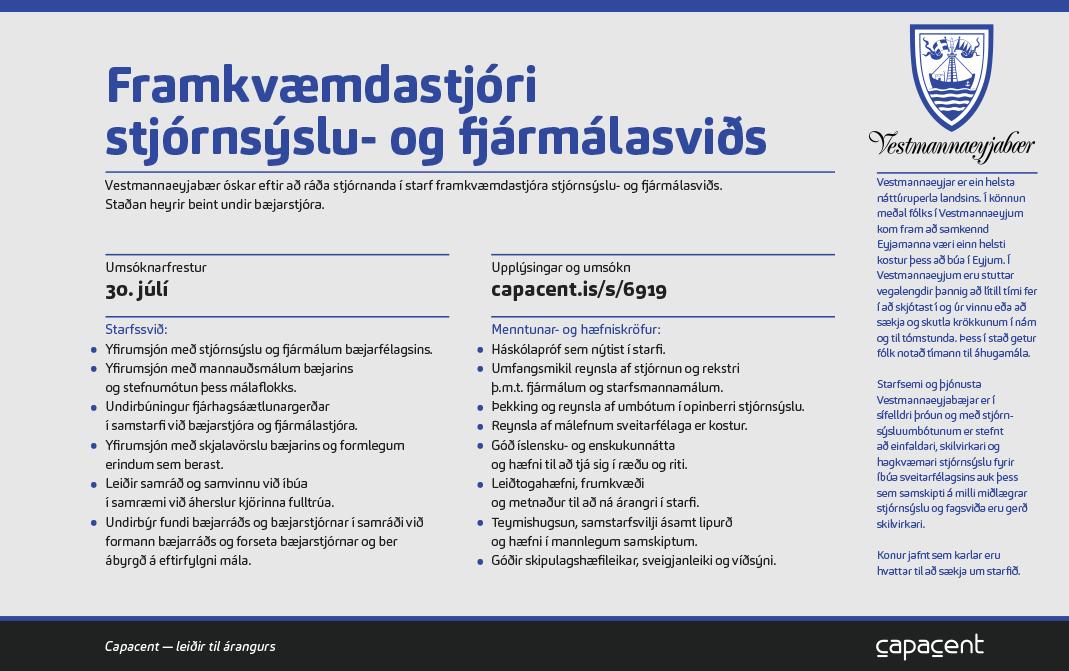 VEY – Framkvæmdastjóri stjórnsýslu- og fjármálasviðs