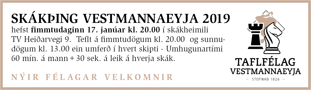 Skákþing Vestmannaeyja 2019